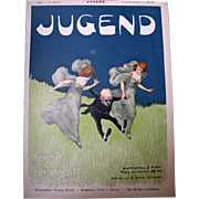ART NOUVEAU 1896 Original Cover for Jugend Running Ladies, Fantastic!