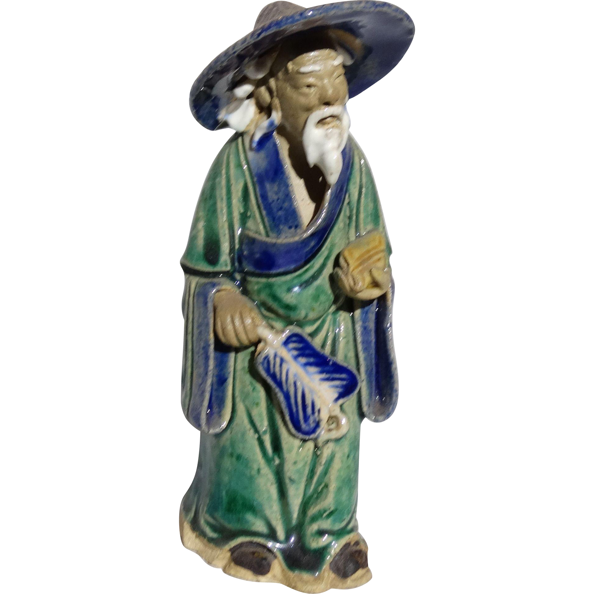 Chinese Mudman Standing Sage With Hat, Fan, and Scroll