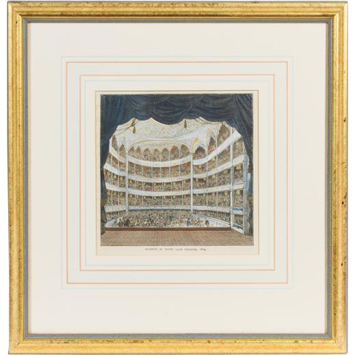 An English Handcolored Engraving Of The Drury Lane Theater, Matted and Framed