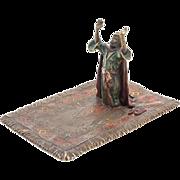 Vienna Cold-Painted Bronze Of Arab On Prayer Rug