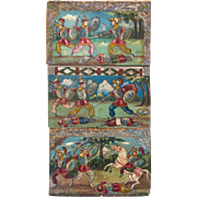 Three Sicilian Painted Donkey Cart Panels Of Battle Scenes