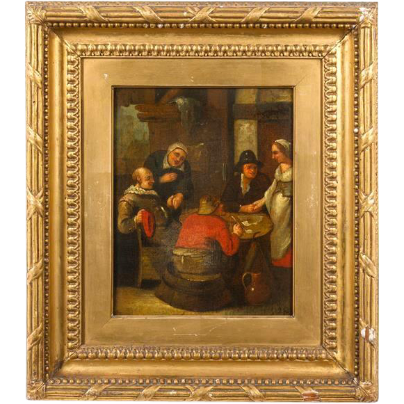 "19th Century Original Oil On Canvas ""Five Figures"""