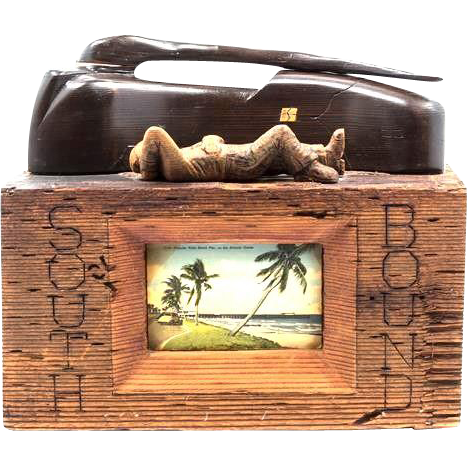 "Fascinating Wood And Postcard Sculpture ""Southbound"" - By Charles H. Wiley (20th Century)"