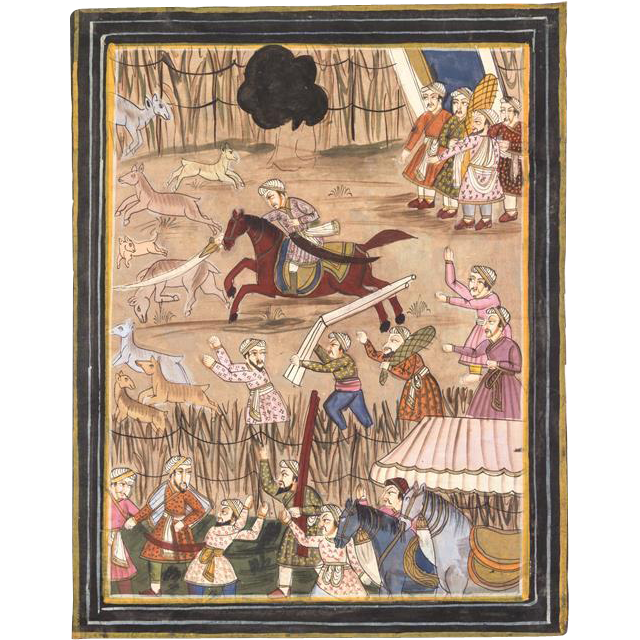 19th Century Indo-Persian Painting On Silk Of A Hunt Scene With Sixteen Figures