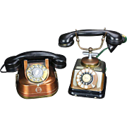2 Art Deco Rotary Style Phones, Copper, C. 1930