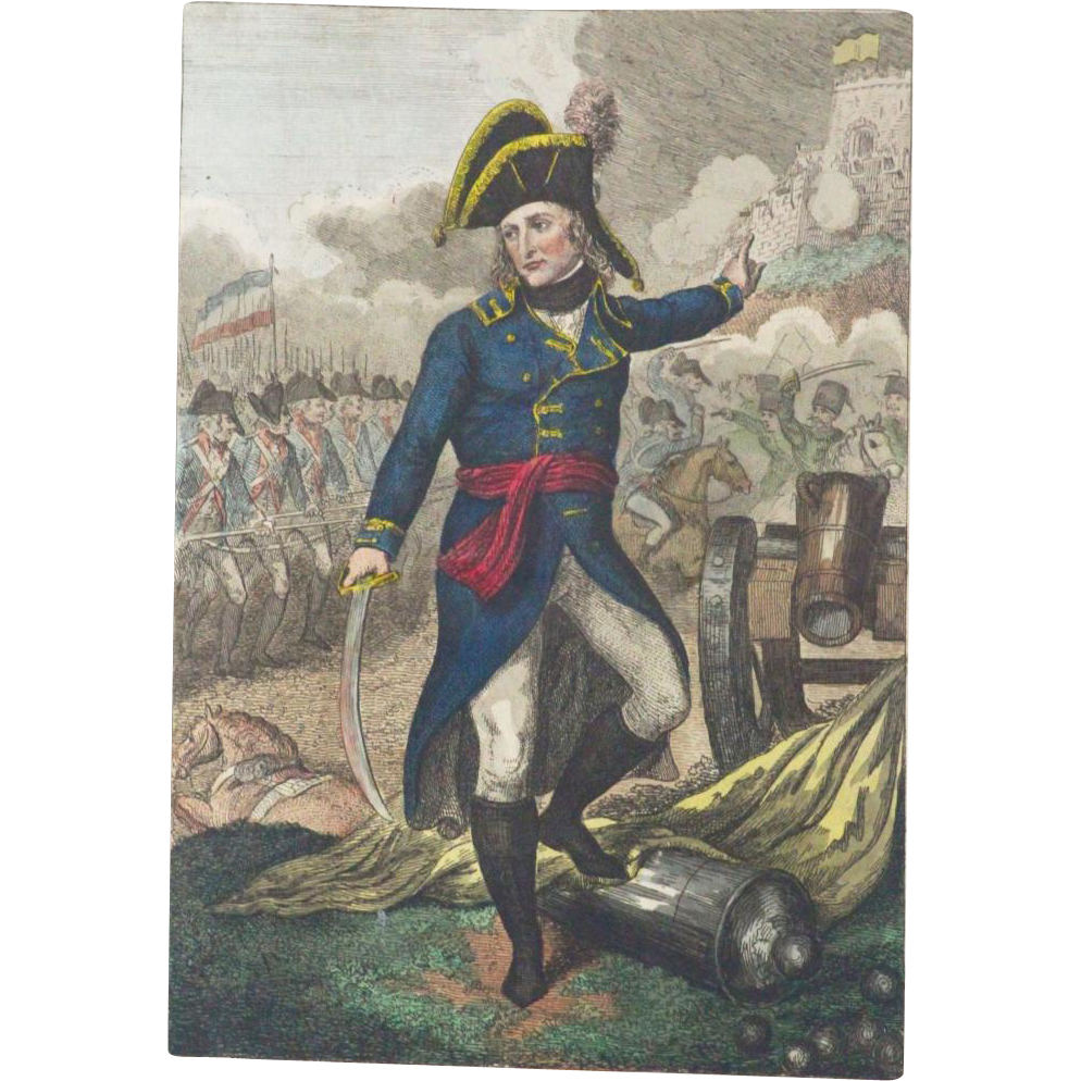 RARE 18th Century Colored Engraving Of Napoleon