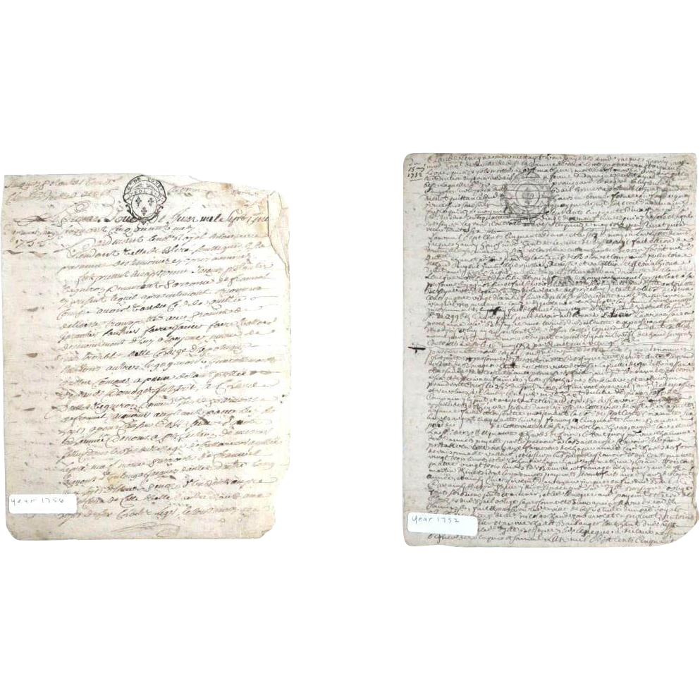 Two 18th Century Hand-Written Letters In French, Dated 1752 and 1756