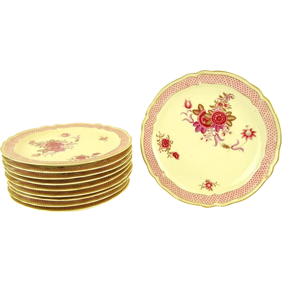 "Bernardaud & Cie, France, Limoges Porcelain TEN Dinner Plates, ""Nankin"" Pattern, Mid 20th Century"