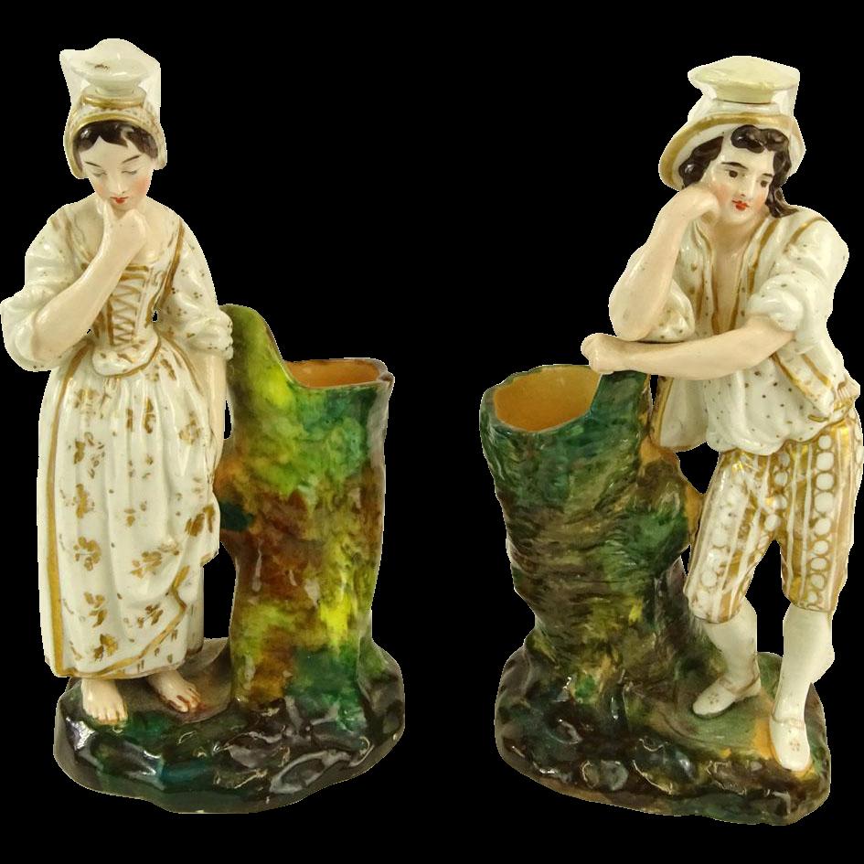 JACOB PETIT  Signed Porcelain Pair Of Figural Scent Bottles