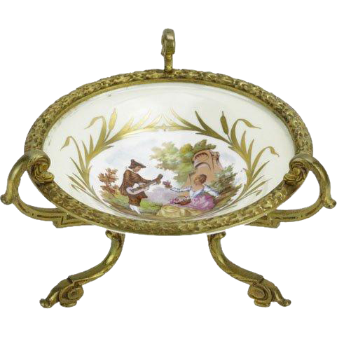 Antique Signed Sevres Style Porcelain Dish With Bronze Ormolu Mounts, Fragonard