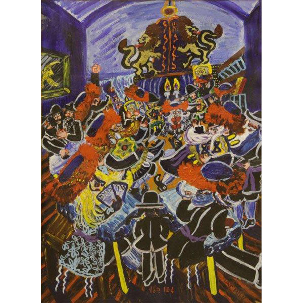 "NATHAN HILU (American b 1926) Original Signed Mixed Media On Paper ""Rabbi With His Congregation"""