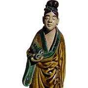 Chinese Standing Mudwoman With Scroll, Symbol of A Scholar or A Scribe