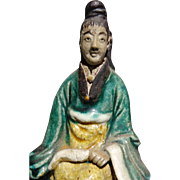 Unusual Chinese Seated Mudwoman With Flywhisk (representing Authority or Leadership)