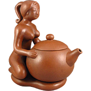 Handmade Chinese Yixing Zisha Clay Lidded Teapot, Artist Signed
