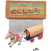 Prairie Schooner Wind-Up Toy With Original Box And Key, Circa 1947, Occupied Japan