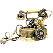 Vintage Canary Yellow Rotary Dial Phone, Made in Singapore, Ornate Gold Embellishments