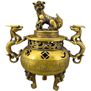 Handmade Chinese Brass Incense Burner, Dragon Handles and Cover, Qianlong Mark