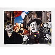 "NELSON DE LA NUEZ  Very Rare Collage Print Titled ""European Vacation"", Ink Signed and Titled By de la Nuez, circa 1995"