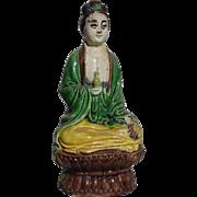 Rare Seated Chinese Mudwoman, Serene and Spiritual