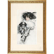 Original Signed American School - Portrait of a Woman With  Her Dog (Shih Tsu or Japanese Chen) - Early 20th Century