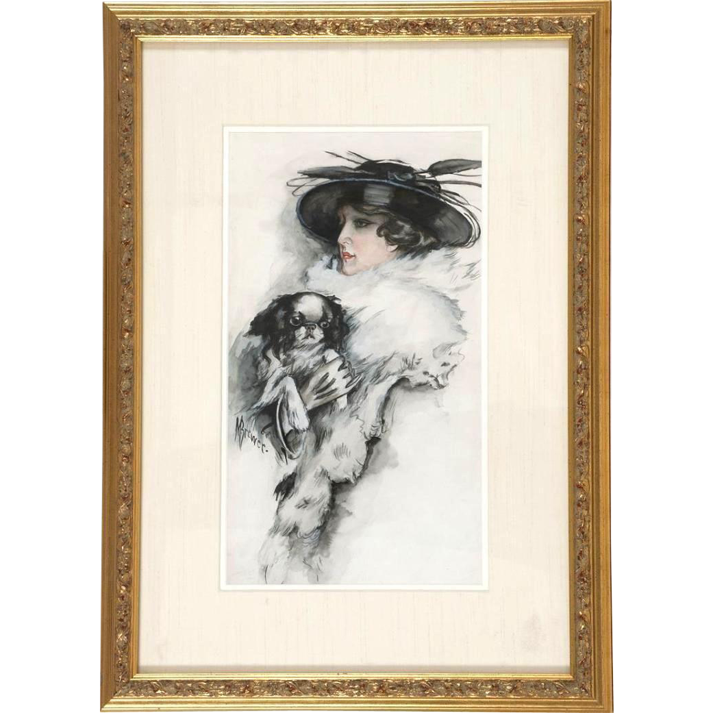 Original Signed American School - Portrait of a Woman With  Her Dog (Shih Tsu, Cavalier King Charles Spaniel or Japanese Chen) - Early 20th Century