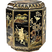 Chinese Gilt & Lacquer Octagonal Two Tiered Box (Three Pieces)