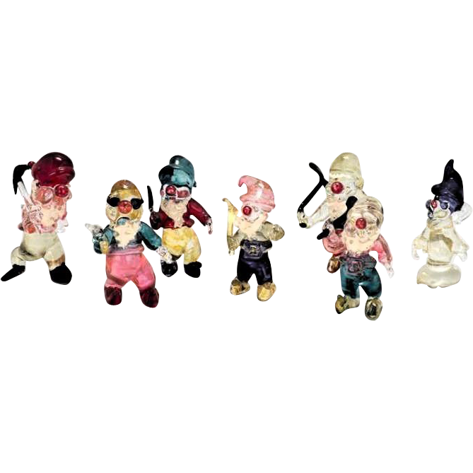 "Venetian Glass Colorful ""Seven Dwarfs"""