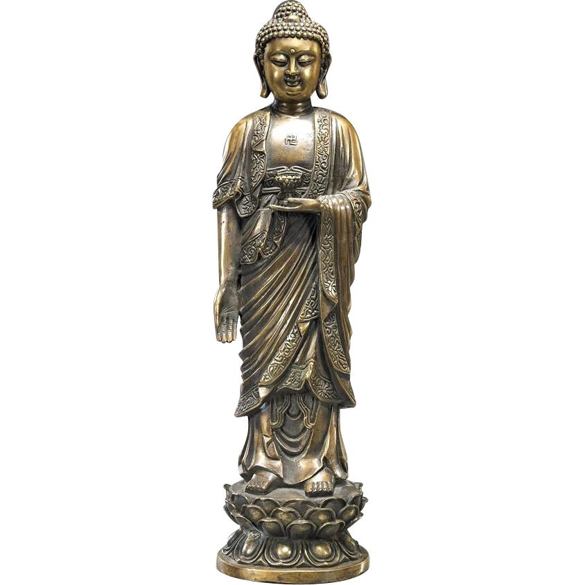 Chinese Gilt Bronze Large Standing Buddha