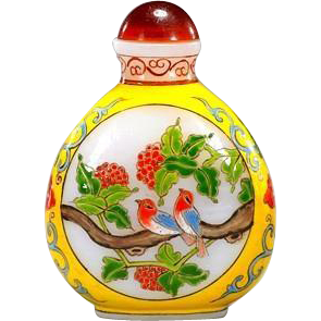 Signed Enamel On Carved Glass Snuff Bottle With Birds And Flowers In Oval Form