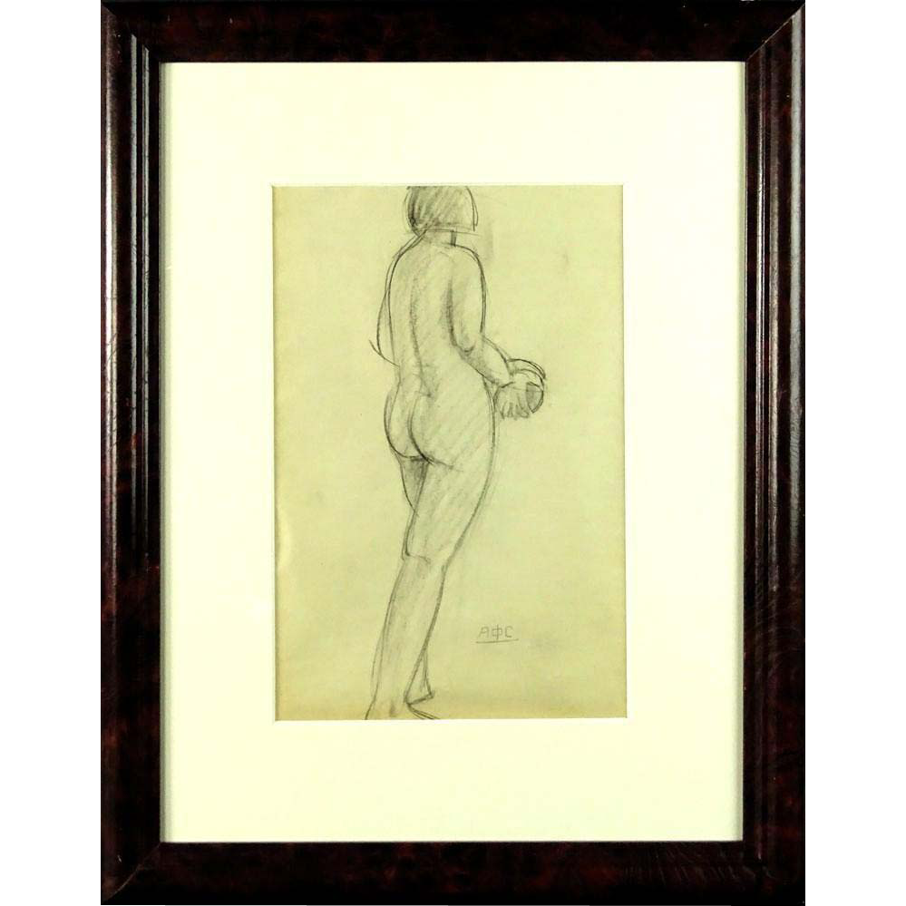 "ANTONINA F. SOFRONOVA (Russian - 1892-1966) ""Female Nude Study"" -Signed With Cyrillic monogram"