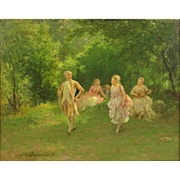 "Camillo Innocenti (1871-1961) - ""Garden Party"" - Signed Original Oil On Panel"