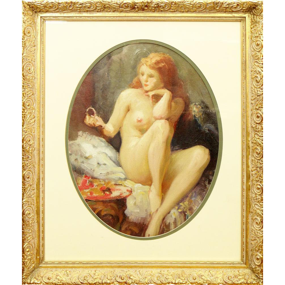 "Joseph Tomanek, (Czechoslovakian/American 1889-1974) Oil on Artist Board ""Nude with Red Hair"" - Signed"