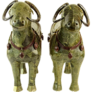 Unusual Pair of Vintage Very Large Jade Veneer Water Buffalo Figures, With Hidden Containers