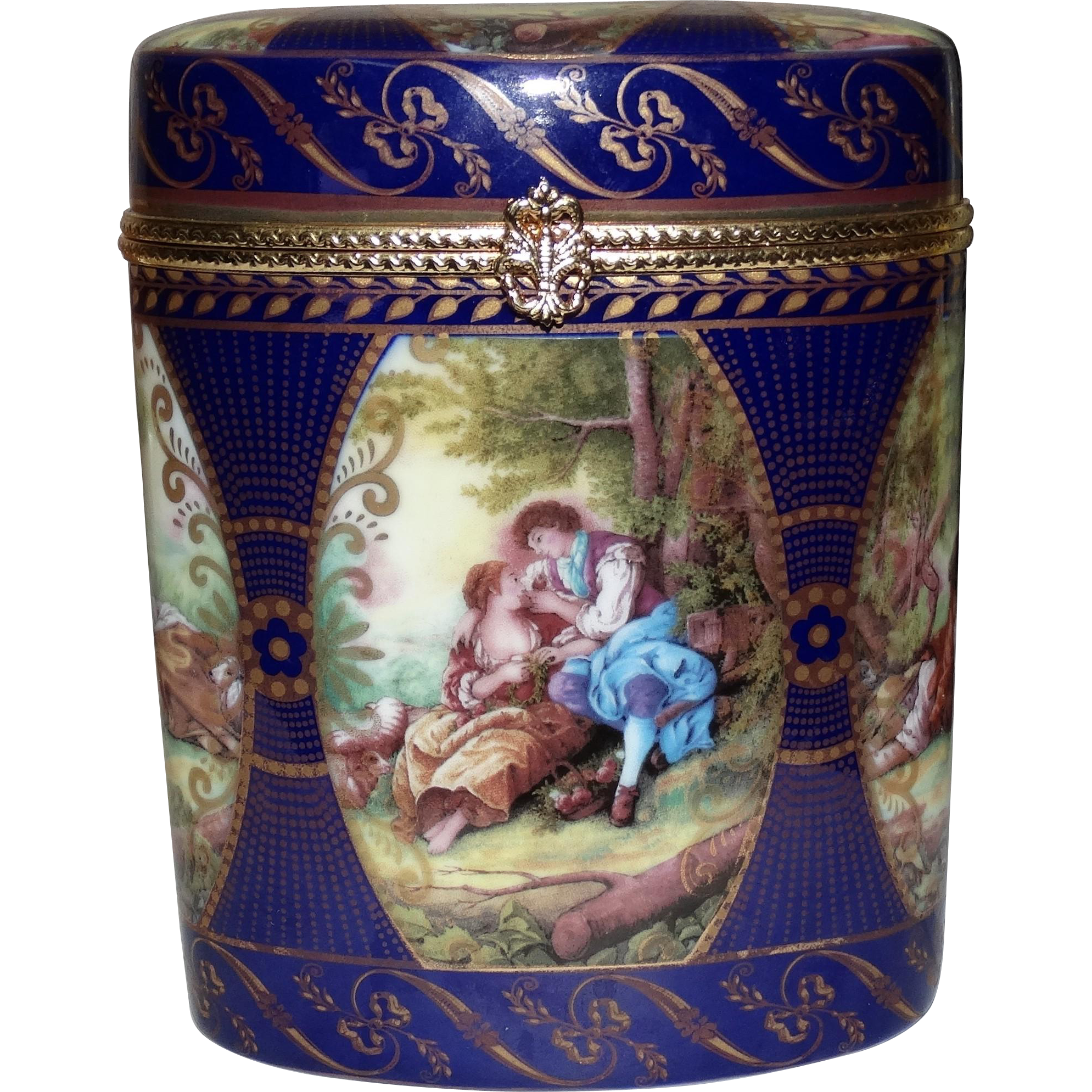 Limoges China signed Porcelain Box With Cobalt Decoration and Multiple European Scenes