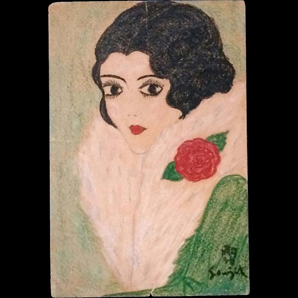 Leonard Tsuguharu Foujita (Japanese 1886-1968) Original Signed Portrait of A Woman