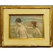 "Pierre Puvis de Chavannes, French (1824-1898) Oil On Canvas ""Les Baigneurs"""