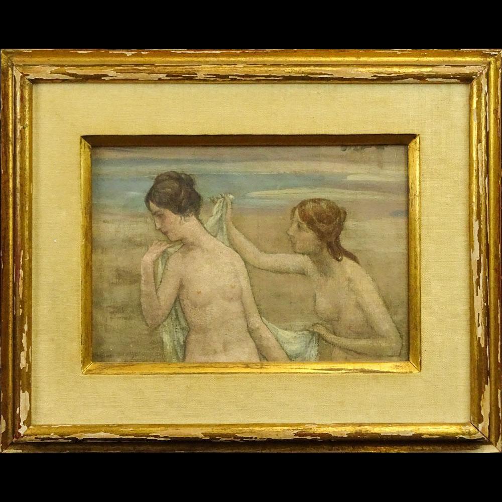 """Pierre Puvis de Chavannes, French (1824-1898) Oil On Canvas """"Les Baigneurs"""""""