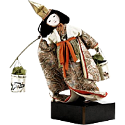 Vintage Japanese Porcelain Doll Dressed in Kimono With Wooden Yoke Carrying Two Baskets
