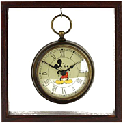 Vintage Mickey Mouse Disney Clock In Shadow Frame With Original Box