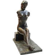 Bronze Female Seated Nude Sculpture, Signed/Dated, Vintage
