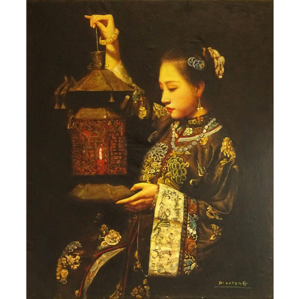 "Di Lifeng/Di Lifong, (Chinese b. 1958) Oil on Canvas ""Beauty With Lantern"""