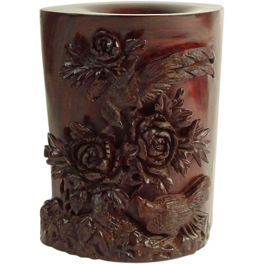 Excellent Finely Carved Hard Wood Brushpot (Vase) With Birds And Flowers In High Relief