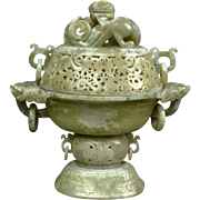 Chinese Well-Carved and Reticulated Jade Covered Sensor with Chilong Finial and Dragon with Ring Handles