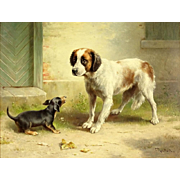 "CARL REICHERT ((Austria 1836 - 1918)  - Original Signed Oil On Board ""Spaniel and Dachshund"""