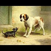 "CARL REICHERT ((Austria 1836 - 1918)  - Original Signed Oil On Board ""Spaniel and Dachshund"""