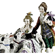 "Capodimonte Multi-Figural Porcelain ""Man and Woman With Dogs"""