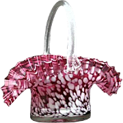 Hand-Blown Ruffled Bride's Basket, Italian
