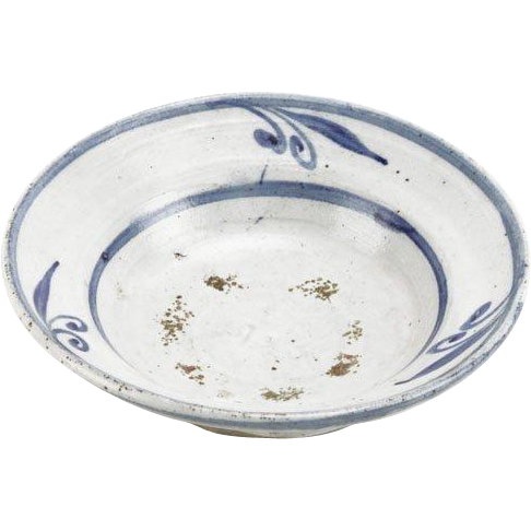 Antique Blue and White Glazed Stoneware Bowl