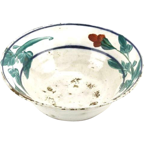 Antique Floral Glazed Stoneware Bowl.