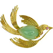 Vintage 14 Karat Yellow Gold and Jade Bird Brooch, Signed